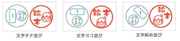 文字とイラストのレイアウトは3種類